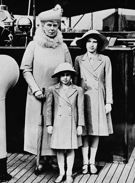 Queen Mary with Princess Elizabeth and Margaret