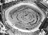 Queensland State Archives 5506 Aerial view of the grand parade of livestock at the Royal National Show Brisbane c 1958.png