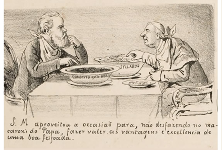 Cartoon alluding to the Religious Question crisis in Brazil Questao religiosa no segundo reinado.png