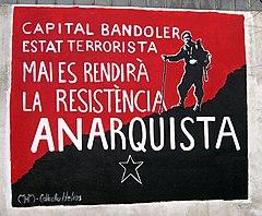 Mural representando a Quico Sabaté en la pared del cementerio de Sant Celoni, 2005 (actualmente borrado).