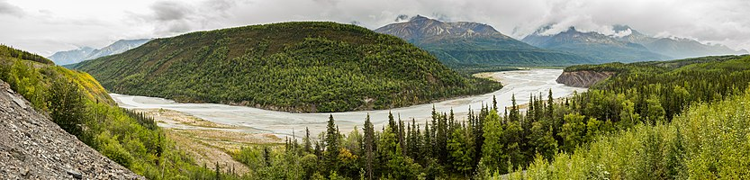 Panoramic view of the Matanuska River near Palmer, Yukon, Canada.