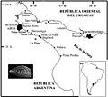 Río de la Plata. Primeras localidades donde se registró la presencia de Limnoperna fortunei. Modifocado de Darrigran & Damborenea, 2006.jpg