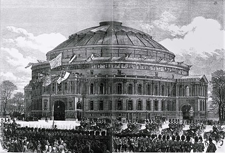 The Hall at the opening ceremony, seen from Kensington Gardens RAH Opening 1871 ILN.jpg