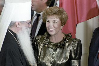 Raisa Gorbacheva - Raisa Gorbacheva with the Metropolitan of Volokolamsk on a visit to the Federal Republic of Germany, June 1989
