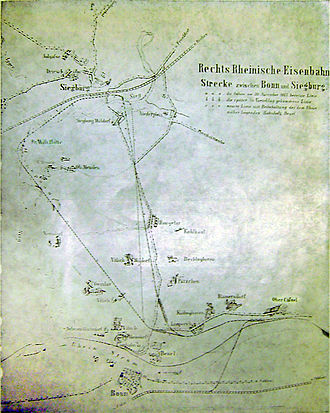 East Rhine Railway - Planning options considered for the East Rhine line between Beuel and Siegburg. The curved route via Friedrich-Wilhelms-Hütte was built.