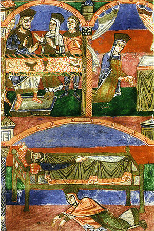 Chlothar I - Radegonde's wedding, depiction of her praying, and prostrate in the marital bed