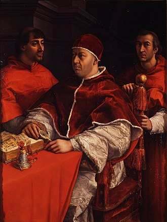 Leo Africanus - Pope Leo X (center) was Leo's initial benefactor in Rome. His cousin, Giulio de' Medici (left) later became Pope Clement VII and continued the papal patronage of Leo.