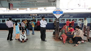 Vadodara Junction railway station - Passengers wait next to the Rajkot Express at Vadodara Station