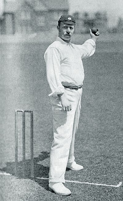 Ranji 1897 page 095 Peel in the act of delivery.jpg