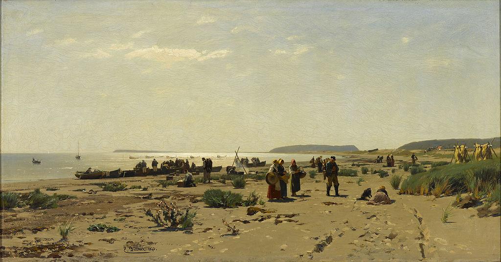 "Eugen Dücker (1841–1916) : ""Rannamaastik (Kalurite kojuminek)"" au musée d'art Kumu de Tallin."