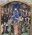 Raoul de Presles presents his translation to King Charles V, surrounded by Fathers of the Church, scholars and others.jpg