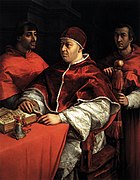 Raphael - Pope Leo X with two cardinals.jpg