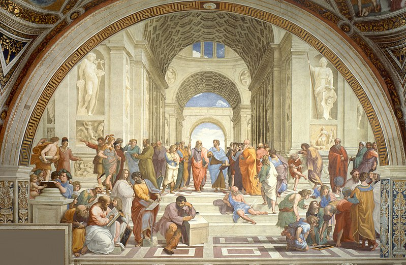Raphael's School of Athens, depicting an array of ancient Greek philosophers engaged in discussion. - Wikipedia