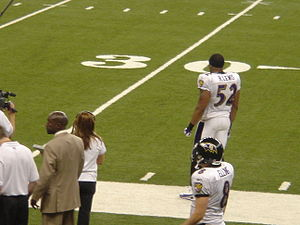 Ray Lewis - Lewis roaming the sidelines in a 2005 game at Ford Field in Detroit