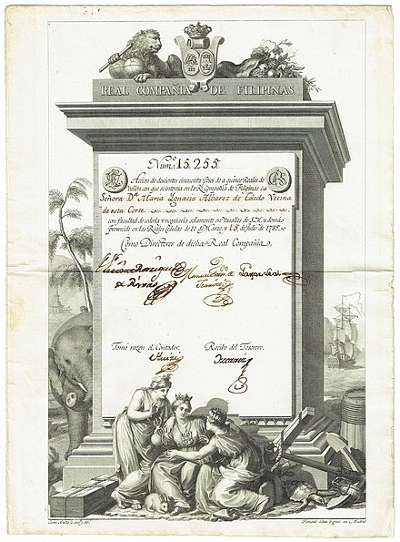 Share of the Real Compania de Filipinas (Royal Philippine Company), issued 15. July 1785 Real Compania de Filipinas 1785.jpg