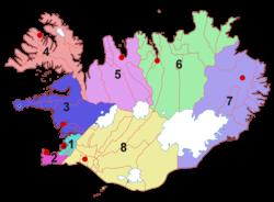 Деление Исландии на регионы