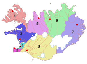 Administrative divisions of Iceland - The regions of Iceland.