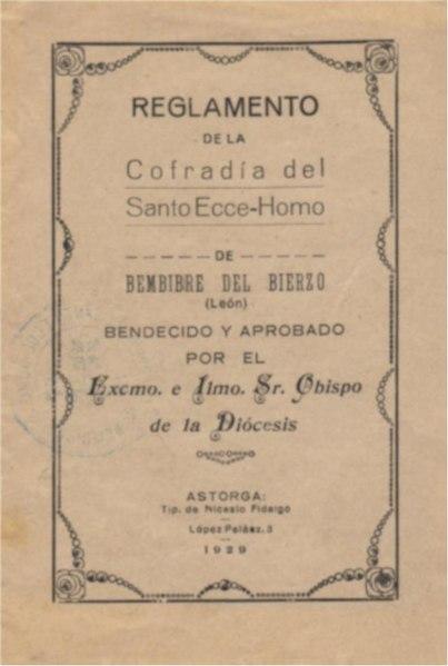 Reglamento de la Cofradía del Santo Ecce-Homo (1928)