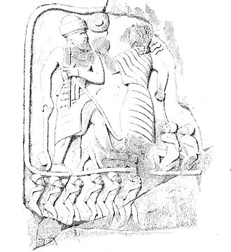 Lullubi - Drawing by Pascal Coste, ca. 1840, of a rock relief of Victory of King Annubanini and the goddess Ishtar,  Sar-I Pul, Iran.