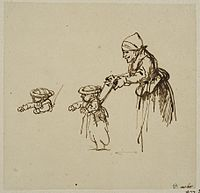 Rembrandt Sheet of Studies, with a Woman Teaching a Child to Walk.jpg