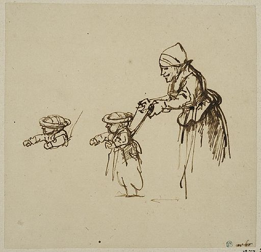 Rembrandt Sheet of Studies, with a Woman Teaching a Child to Walk