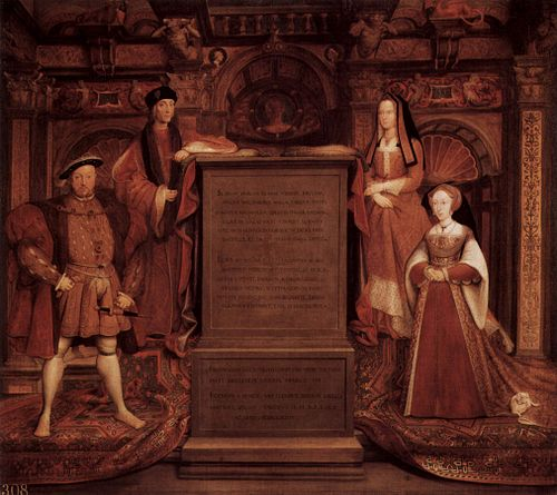 Copy of Hans Holbein the Younger's lost 1537 Whitehall painting of Henry VII and Elizabeth of York; Henry VIII and wife Jane Seymour Remigius van Leemput 001.jpg