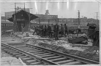 30th Street Station - The former West Philadelphia station being removed in 1931 during construction of 30th Street Station