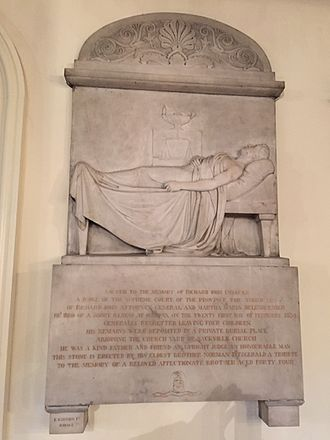Richard John Uniacke Jr. - Richard John Uniacke Monument by John Gibson, Via Fontanella Studio, Roma, c. 1830, St. Paul's Church (Halifax); monument commissioned by older brother judge Norman Fitzgerald Uniacke