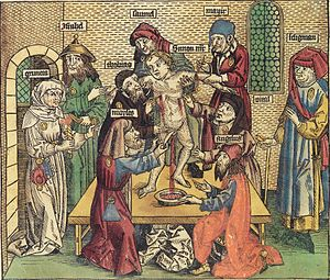Blood libel - Simon of Trent blood libel. Illustration in Hartmann Schedel's Weltchronik, 1493