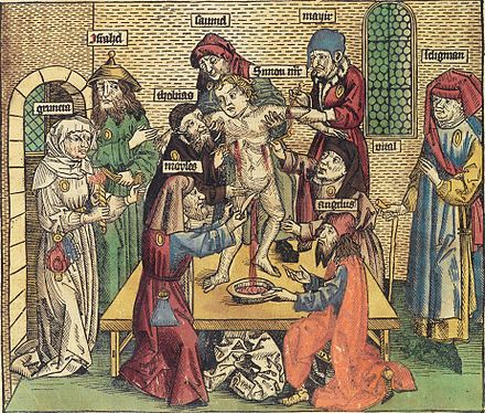 Simon of Trent blood libel. Illustration in Hartmann Schedel's Weltchronik, 1493 Ritualmord-Legende.jpg
