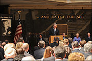 Robert Swan Mueller at a memorial event for G Falcone
