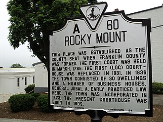 Rocky Mount, Virginia - State historical marker for Rocky Mount