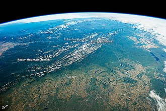 Rocky Mountain Trench - Rocky Mountain Trench, astronaut photo from ISS, 2014
