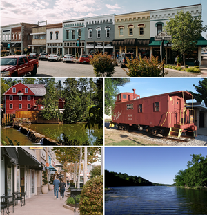 Clockwise from top: Downtown Rogers, the Centennial Caboose, Lake Atalanta, Pinnacle Hills Promenade, War Eagle Mill