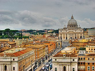 Religion in Europe - View of St. Peter's Basilica in Vatican City, the largest European Roman Catholic Church