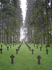 Romagne-sous-Montfaucon - German grave field with view on Memorial.jpg