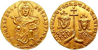 Leo Phokas the Elder - Gold solidus of Emperor Constantine VII (r. 913–959) with Romanos Lekapenos. After overcoming the rebellion of Leo Phokas, Lekapenos promoted himself to Caesar and was eventually crowned as senior emperor (basileus autokrator) in December 920, ruling until his abdication in December 944.