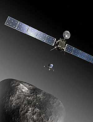 Rosetta (spacecraft) - Illustration of Rosetta and Philae at the comet