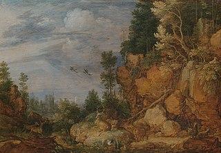 Paysage rocheux avec des cerfs et des chèvres