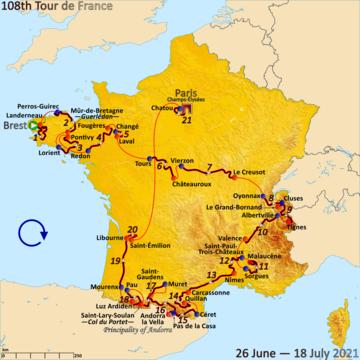 Route of the 2021 Tour de France