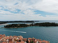 Rovinj Saint Euphemia tower view islands.jpg