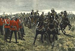 Royal Horse Artillery and the 66th Foot before the Battle of Maiwand di Richard Caton Woodville