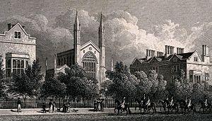 Ambrose Poynter - Royal Hospital of St Katharine, Regent's Park, London, 1827 engraving. The chapel is now the Danish Church.
