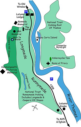 Runnymede - Detail of area shown in location map, skewed north-south