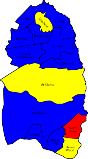 Rushmoor Borough Council elections - Image: Rushmoor 2008 election map