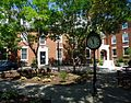 Rutgers University College Avenue campus with clock and dormitory and trees.jpg