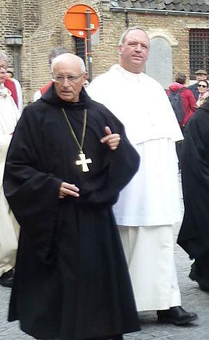 Grimbergen Abbey - Erik de Sutter, right, current Abbot