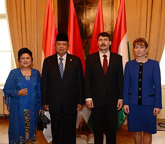 János Áder - President Áder and First Lady Anita Herczegh with Indonesian President Susilo Bambang Yudhoyono and First Lady Kristiani Herawati in March 2013