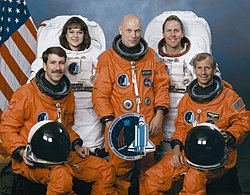 v. l. n. r. Kent Rominger, Tamara Jernigan, Story Musgrave, Thomas Jones, Kenneth Cockrell