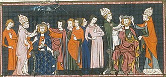 Carloman II - The coronation of Carloman (left) and his elder brother, who is shown seated higher and crowned by two bishops